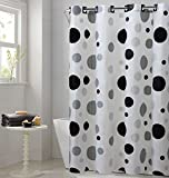 Black Hookless Shower Curtain Hookless PEVA Shower Curtain - Retro Dots - Black/Gray (RBH14FC244)