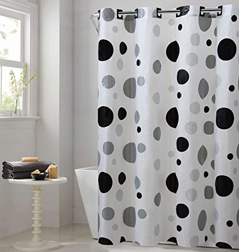 Hookless PEVA Shower Curtain - Retro Dots - Black/Gray (RBH14FC244)