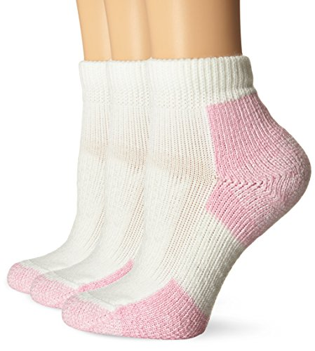 Thorlo Women's Distance Walking Sock 3 Pack, White/Pink, 9