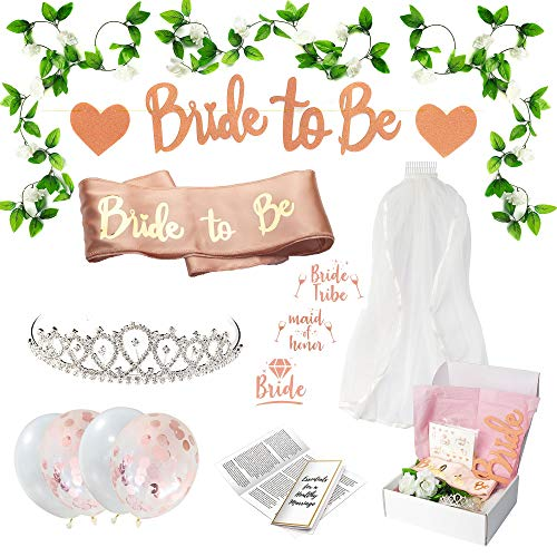 (Antheia Collection Rose Gold Bachelorette Party Decorations Kit | Bridal Shower Decoration | Bride to Be Sash & Glitter Banner, Veil,Tiara, White Pearl & Confetti Balloons, Bride Tribe Flash Tattoos)