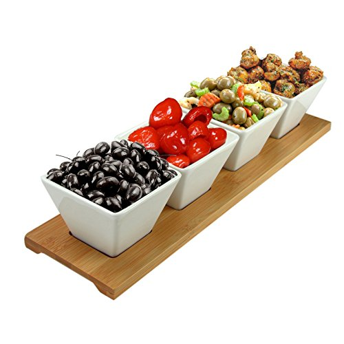 Signature Server - Elama Signature Modern Appetizer and Condiment Server with 4 Serving Dishes and a Bamboo Serving Block, 5 Piece