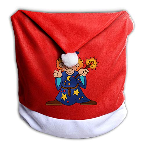 FUNMAX Halloween Wizard Animated Boy Non-Woven Xmas Christmas Themed Dinner Chair Cap Hat Covers Set Ornaments Backers Protector for Seat Slipcovers Wraps Coverings Decorations -