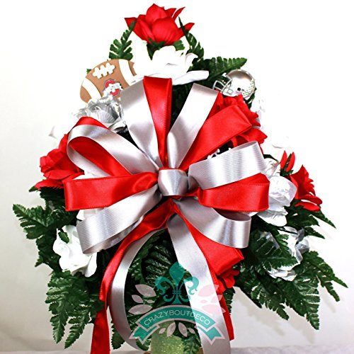 Ribbons Roses Florist - Ohio State Fan White and Red Roses 3 inch Vase Flower Arrangement
