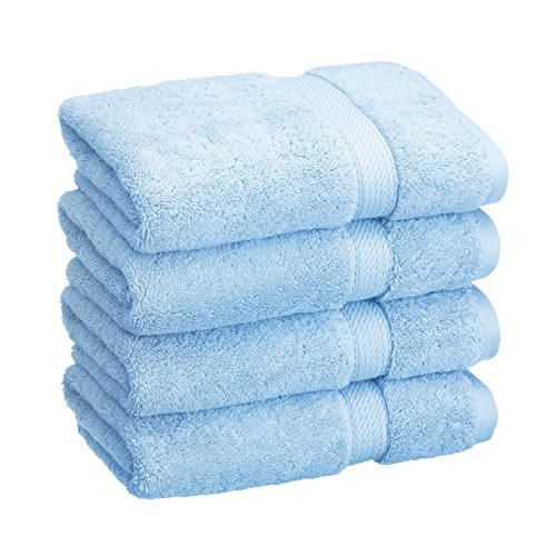 Superior 900 GSM Luxury Bathroom Hand Towels, Made of 100% Premium Long-Staple Combed Cotton, Set of 4 Hotel & Spa Quality Hand Towels - Light Blue, 20 x 30 each