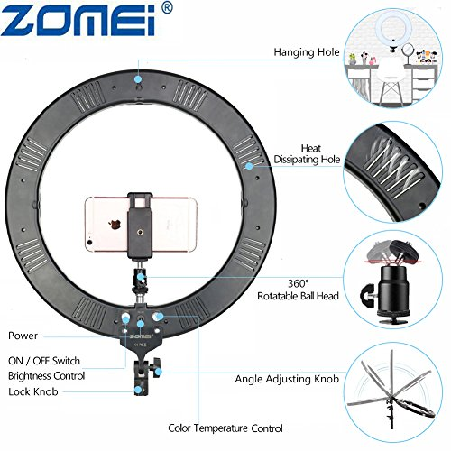 LED Ring Light with Stand, ZOMEi 18\