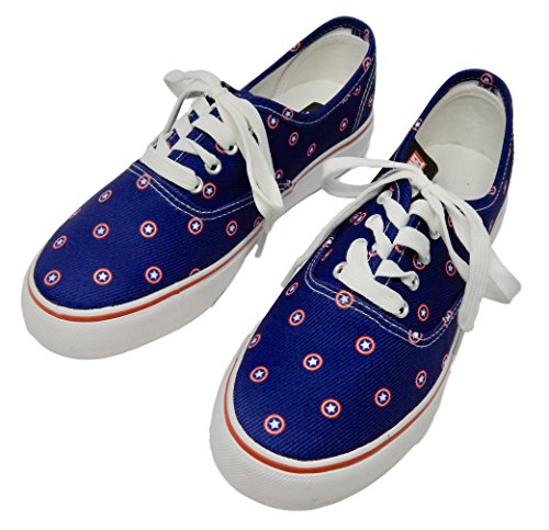Captain America Shoes (Marvel Captain America Micro Prep Navy Unisex Lo Pro Shoes (M6.0/W7.5))