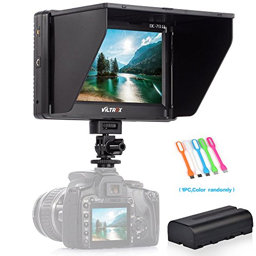 SUPON VILTROX DC-70II Clip-on Portable 7'' Color TFT LCD HD Monitor HDMI AV Input 1024 x 600 Pixels for Sony Canon Nikon DSLR Camera Camcorder with NP-F550 Lithium battery (DC-70II +NP-F550) by SUPON