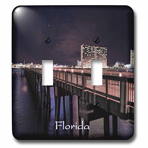 3dRose Florida - Image of Panama City Pier At Night - Light Switch Covers - double toggle switch - City Pier Panama