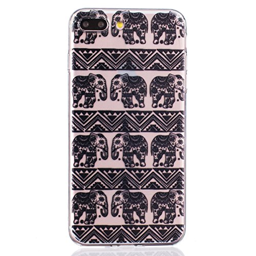iPhone 7 Plus 5.5 Inch With Transparent Thin TPU Soft Silicone, Greendimension Black Printed Pattern Design Case Cover For iPhone 7 Plus (Small Elephant)
