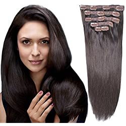 "18"" Clip in Remy Human Hair Extensions Dark Brown(#2) 6pieces 70Grams/2.45oz"