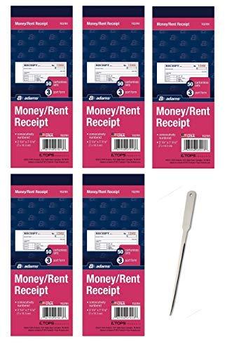 Receipt Adams Rent - Adams Money/Rent Receipt Book, Carbonless, 3-Part, 2-3/4 x 7-3/16 Inches, 50 Sets per Book, 5 Books, 250 Sets Total (TC2701)