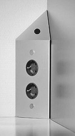 Ecksteckdose mit Schalter Küchen-Steckdose Edelstahl 2x ...