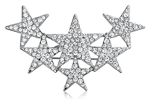 Bling Jewelry Large Patriotic 6 Crystal Stars Brooch Pin Silver Plated