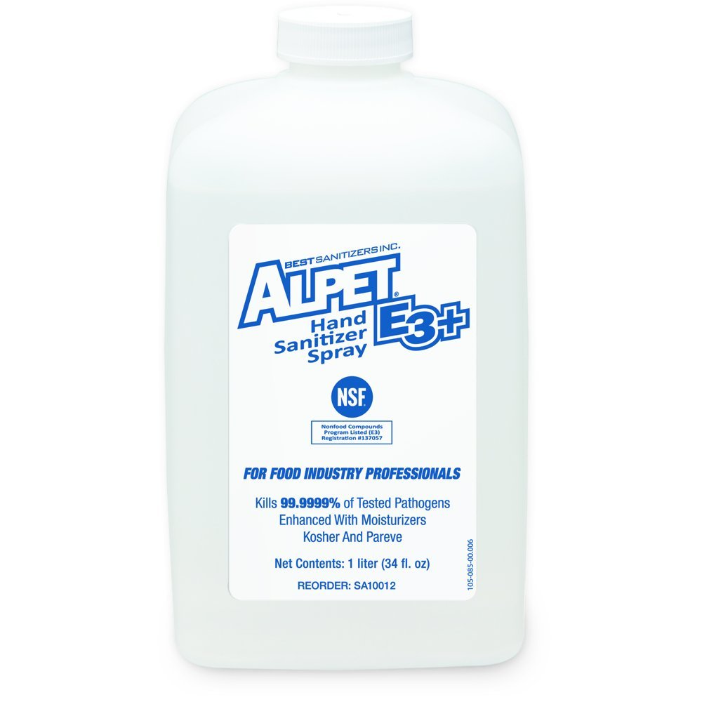 Best Sanitizers SA10012 Alpet E3 Plus Hand Sanitizer Spray, 1000mL Bottle (Case of 6)