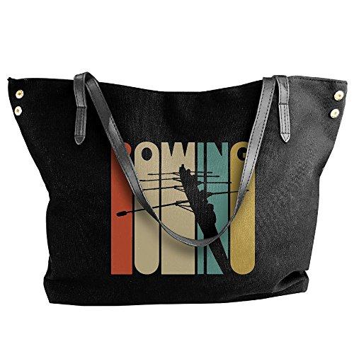 Large Shoulder Hobo Vintage Black Style Women's Handbag Tote Rowing Canvas Silhouette Tote Handbag Bag fqXa56