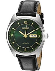 Seiko Mens Recraft Series Japanese Automatic Stainless Steel and Black Leather Dress Watch (Model: SNKN69)