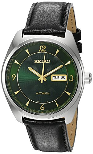 (Seiko Men's 'Recraft Series' Japanese Automatic Stainless Steel and Black Leather Dress Watch (Model: SNKN69))