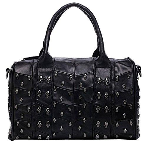 Skull Studded Handbag Womens Black Leather Shoulder Bag Punk Bowling Tote 3 in 1 Hobo Bag-Pulama