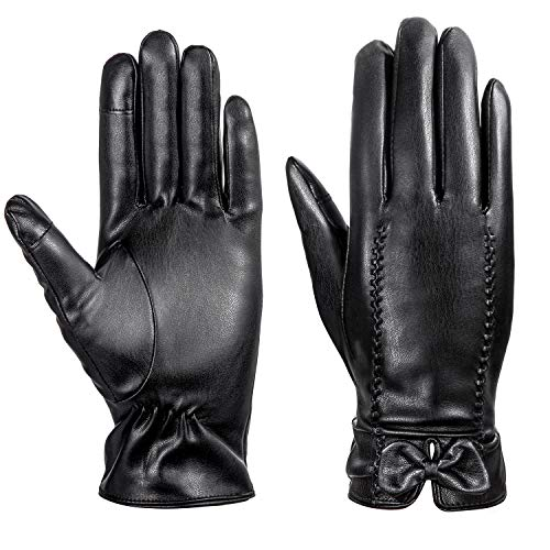 Leather Gloves Women...
