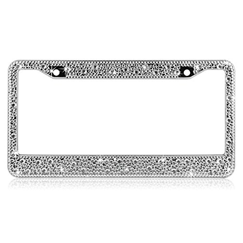 ShowTop Pure Handmade Luxury Crystal Bling Bling Rhinestones Aluminium Car License Plate Frame Cover for Women...