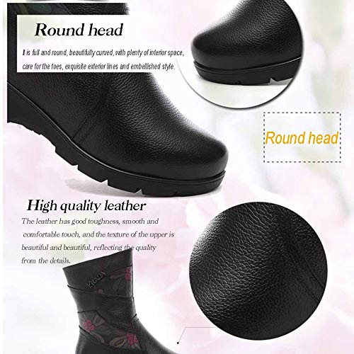 Mediana Tobillo Forrados Mujer Cuña Edad Damas De Para Black Miss Talón En Cremallera Calzado Piel Zapatos Lateral Con Li Invierno Relieve g0wx0U4q