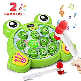Byserten Whack a Frog Game for Kids, Toys for 2 3 4 5 6 Year Old Boys Girls Interactive Pounding Game Early Developmental Toy with Music Light Toddler Kids Gifts Include 2 Hammers