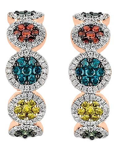 (Prism Jewel 1.57Ct Round Multicolor Diamond Hoop Earrings Hinge With Notched Post, 10k Rose Gold )