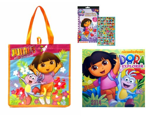 Nickelodeon Dora the Explorer 2014 Wall Calendar+ Dora the Explorer Reusable Tote Bag+ Dora the Explorer Sticker Pad with Over 270 Stickers