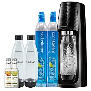 SodaStream Fizzi Sparkling Water Maker Bundle Kit, Black, with Bonus CO2, Carbonating Bottles, and Fruit Drops