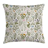 Ambesonne Floral Throw Pillow Cushion Cover, Vintage Garden Plants with Herbs Flowers Botanical Classic Design, Decorative Square Accent Pillow Case, 16 X 16 Inches, Beige Reseda Green Pink Blue