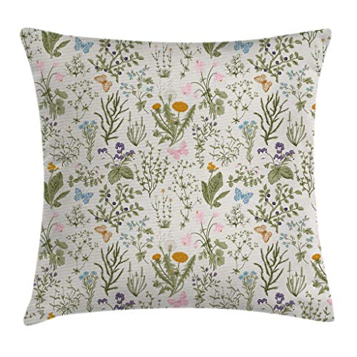 Floral Accent Pillow - Ambesonne Floral Throw Pillow Cushion Cover, Vintage Garden Plants with Herbs Flowers Botanical Classic Design, Decorative Square Accent Pillow Case, 16