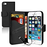MobileConnect4U Black PU Leather Wallet/Flip Case For iPhone 5/5S With Screen Protector And Stylus Bild 4