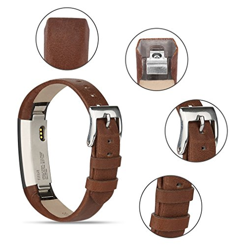 Tobfit Fitbit Alta HR and Fitbit Alta Leather Bands Replacement Leather Watch Bands With Stainless Steel Buckle for Fitbit Alta HR and Alta (Chocolate Brown+Suede Grey) by Tobfit (Image #6)
