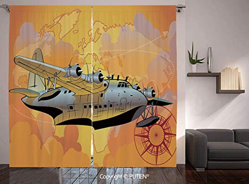 Thermal Insulated Blackout Window Curtain [ Vintage Airplane Decor,Retro Seaplane in Sky World Map Compass Adventure Travel Journey Decorative,Multicolor ] for Living Room Bedroom Dorm Room Classroom]()