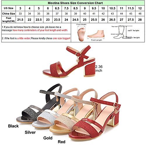 a Peep spillo Sandalo Gold Toe Lumino Party Tacco Black Lady Buckle Summer Glitter High Shoes Donna qagtPt