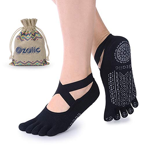 Ozaiic Yoga Socks for Women with Grips, Non-Slip Five Toe Socks for Pilates, Barre, Ballet, Fitness from Ozaiic