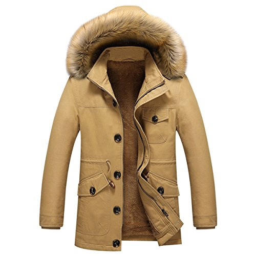 Pishon Men's Sherpa Lined Jacket Solid Full Zip Hoodie Jackets with Faux Fur Trim, Khaki, Tag Size XXXXL=US Size M ()