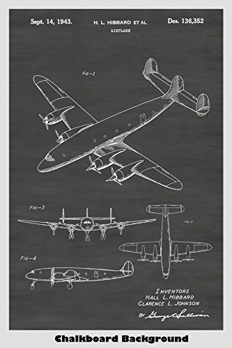 (Lockheed Constellation AIrplane Poster Patent Print Art Poster: Choose From Multiple Size and Background Color Options)
