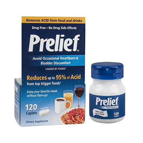 Prelief Acid Reducer Caplets  120 Count  Dietary Supplement To Reduce Bladder Discomfort Or Digestive Discomfort Caused By High Acid Foods
