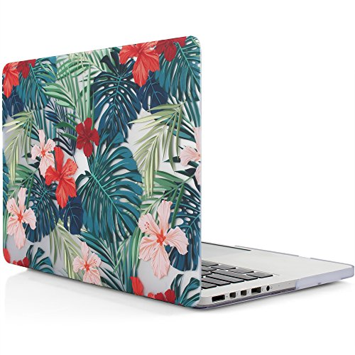 iDOO Hard Plastic Case ONLY for (Previous Generation) MacBook PRO 15 inch (Model A1398) with Retina Display NO CD Drive - Tropical Palm Leaves with Red (Display No Drive)