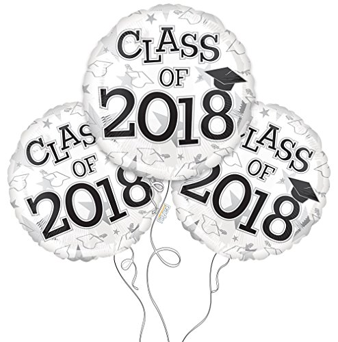 Graduation Cap Class of 2018 Mylar Balloons in White - 3 Pack