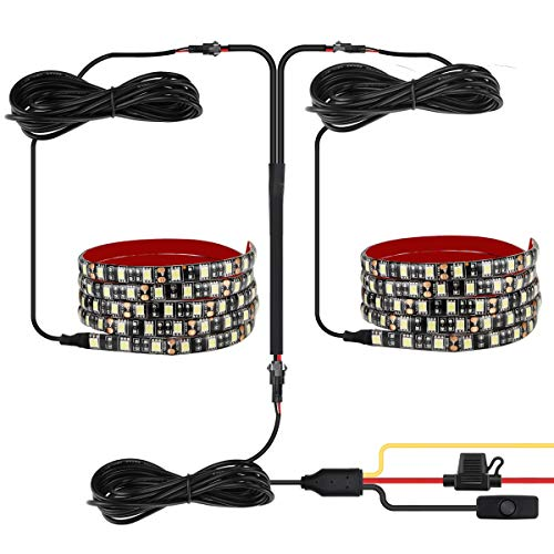 Leeleberd Truck Bed Lights Strip, 2PCS 60 LED Cargo Waterproof Led Light 12V Truck Kit with On-Off Switch Fuse 2-Way Splitter Cable for Jeep Pickup Truck RV SUV (White)