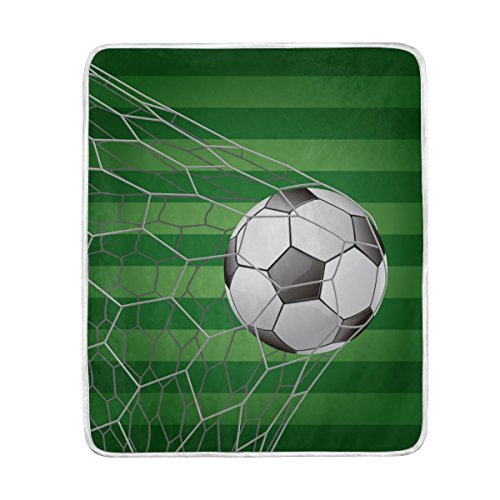 ALIREA Soccer Ball In Goal With Grass Field Super Soft Warm Blanket Lightweight Throw Blankets for Bed Couch Sofa Travelling Camping 60 x 50 Inch for Kids Boys Girls by ALIREA