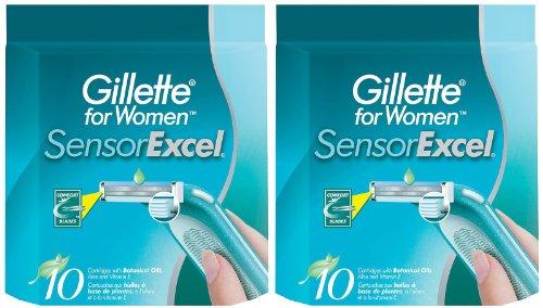 Gillette SensorExcel Refill Cartridges for Women-10 ct, 2 pk (Gillette Sensor Razor Women)