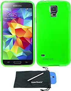 For Samsung Galaxy S5 Transparent Tpu Design Soft Flexible Phone Cover Case with Stylus Pen and ApexGears (TM) Phone Bag (Neon Green)