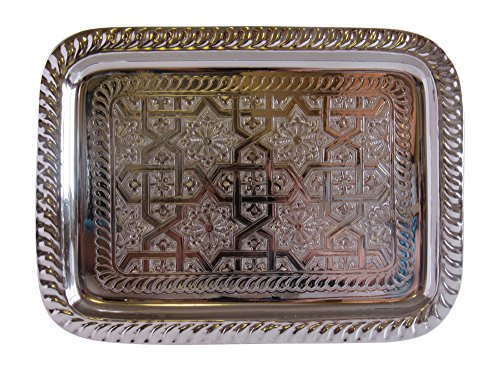 Vintage Styled Handmade Moroccan Silver Plated Rectangular Engraved Tea Tray, Bring Home a Beautifully Functional Near East Tradition, Small, 11.3x8.5