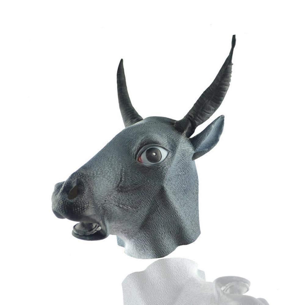 QJXSAN Máscara de látex respetuosa del Medio Ambiente Cubierta de Cabeza de Animal Máscara de Gato Amarilla Cabeza de Diablo de Vaca Cubierta Máscara de Vaca de Adulto Rendimiento de Fiesta de Baile