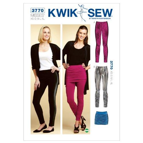 Kwik Sew K3770 Leggings and Skirt Sewing Pattern, Size - Skirt Leggings Inset Knit