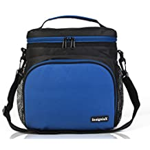 "Insulated Lunch Bag S1: InsigniaX Cool Lunch Box/Cooler/Lunchbox for Adult Women Men Work School Kids Girls Boys With Shoulder Strap Water Bottle Holder H: 10"" x W: 5.1"" x L: 9.2"" (Large, Blue)"