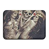 PLYJAN Poker Skull King Soft Non Slip Absorbent Bath Rugs,Memory Foam Bath Mats Entrance Mat Floor Mat